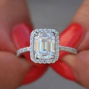 NEW! Dainty 18K Emerald-Cut Halo Engagement Ring